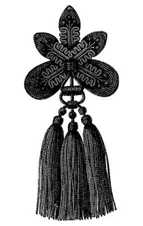 Vintage engraving style vector illustration of a tassel, drapery accessory Illustration