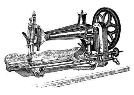 Vintage engraving style vector illustration of an old-fashioned sewing machine and its interior