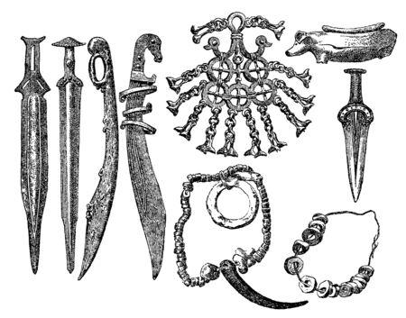 Vintage engraving style vector illustration set of prehistoric bone objects