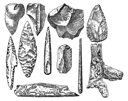 Vintage engraving style vector illustration set of prehistoric stone items 일러스트