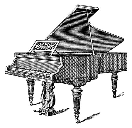 Vintage engraving style vector illustration of a grand piano