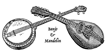 Vintage engraving style vector illustration of a banjo and mandolin crossed to form a copy space for your text