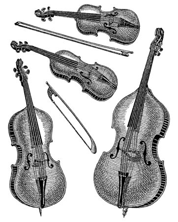 Vintage engraving style vector illustration set of stringed musical instruments family with violin, vertical viola, cello, contrabass and arch Çizim