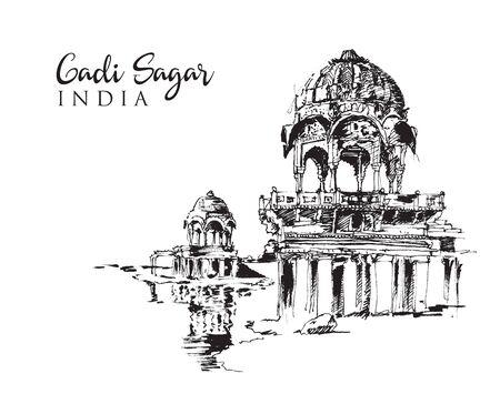 Drawing sketch illustration of the shrines on the Lake Gadi Sagar in India Иллюстрация