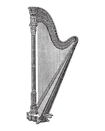 Vintage engraving style vector illustration of a harp