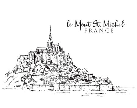 Drawing sketch illustration of le Mont Saint Michel in Normandy, France