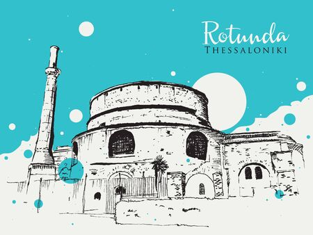 Drawing sketch illustration of the Rotunda or Rotonta, an ancient Roman structure in Thessaloniki, Greece Stock Illustratie