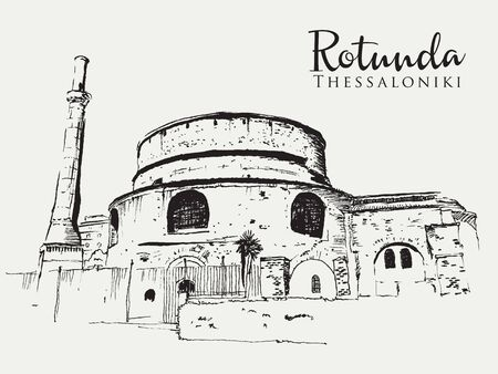 Drawing sketch illustration of the Rotunda or Rotonta, an ancient Roman structure in Thessaloniki, Greece Illustration