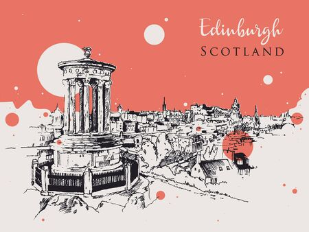 Drawing sketch illustration of Edinburgh city of Scotland, view from Carlton Hill towards Edinburgh Castle