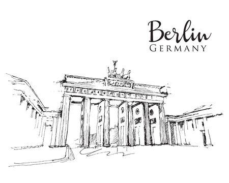 Drawing sketch illustration of the Brandenburg Gate in Berlin, Germany Vektoros illusztráció