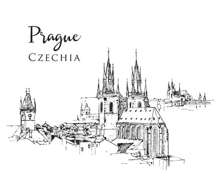 Drawing sketch illustration of the famous Tyn Church in Prague, the capital of Czechia.