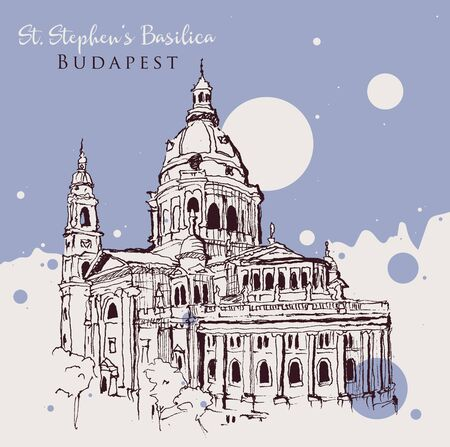 Drawing sketch illustration of St. Stephen's Basilica in Budapest, Hungary