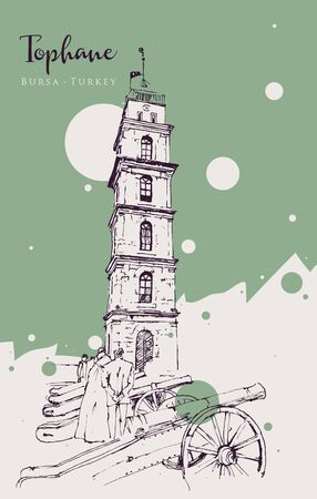 Drawing sketch illustration of the historical Ottoman Clock Tower in Tophane district of Bursa, Turkey. 向量圖像