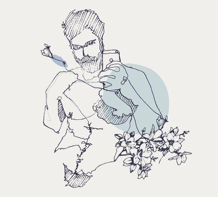 Schizzo di disegno di un giovane che si fa un selfie allo specchio con uno smartphone