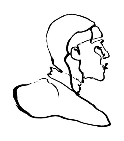 Sketchy single line drawing illustration of a man figure from behind, stylized portrait outline