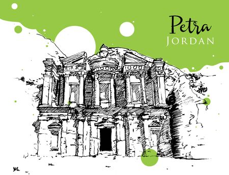 Drawing sketch illustration of the ancient remains of Petra in Jordan