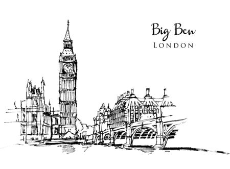 Drawing sketch illustration of Big Ben, one of the most significant landmarks of London, UK