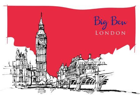 Drawing sketch illustration of Big Ben, one of the most significant landmarks of London, UK Vektoros illusztráció