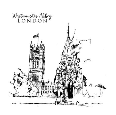 Drawing sketch illustration of Westminster Abbey in London, UK Векторная Иллюстрация