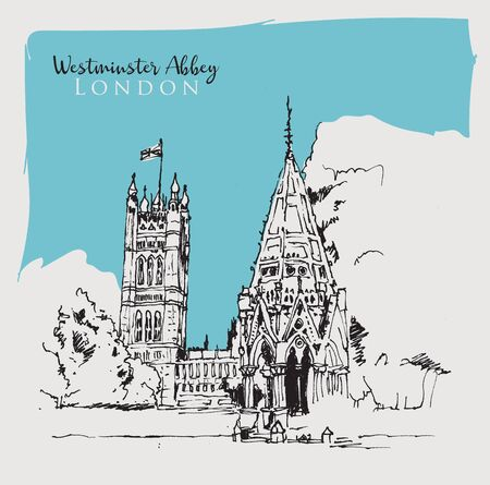 Drawing sketch illustration of Westminster Abbey in London, UK Illustration