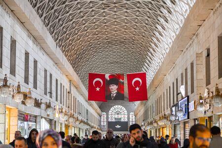Bursa, Turkey - December 27, 2019: Interior view from the historical covered bazaar of Bursa city center, the 4th largest city of Turkey, located in Marmara region. Editoriali