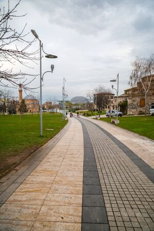 Bursa, Turkey - December 27, 2019: Exterior view of the Conquest 1326 Panorama Museum in Bursa. Located next to Goksu creek, the museum was opened in November 2018.
