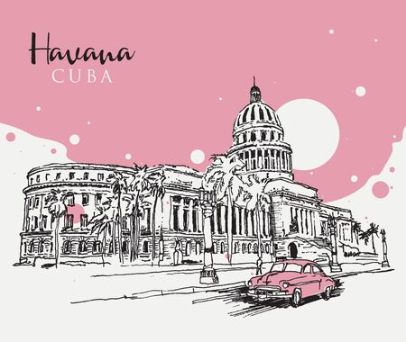 Drawing sketch illustration of the Capitol building or El Capitolio in Havana, the Cuban capital city