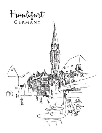 Drawing sketch illustration of Altstadt, Roemerberg Platz, and Old Saint Nicholas Church in Frankfurt, Germany