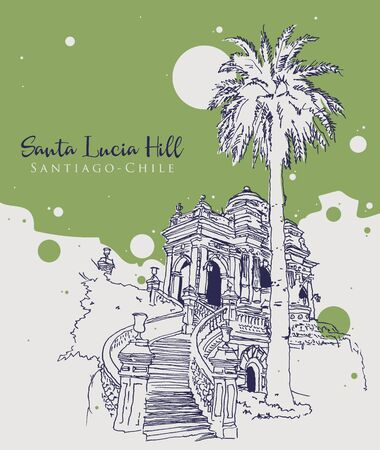 Drawing sketch illustration of Santa Lucia Hill park in Santiago, Chile