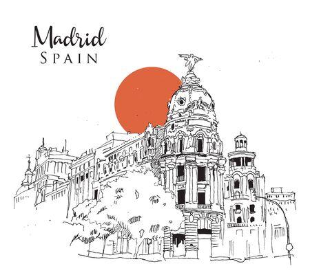 Drawing sketch illustration of Gran Via Street in Madrid, Spain