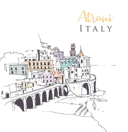 Drawing sketch illustration of Atrani, the smallest village in south-western Italy.