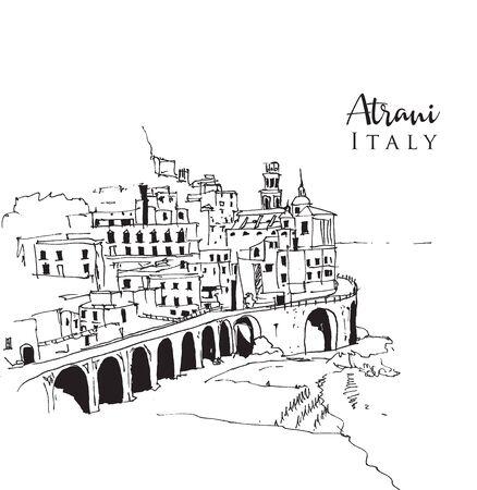 Drawing sketch illustration of Atrani, the smallest village in south-western Italy. Vektorgrafik