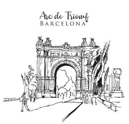 Drawing sketch illustration of the Arc de Triomf in Barcelona, Spain