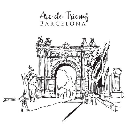 Drawing sketch illustration of the Arc de Triomf in Barcelona, Spain Illustration
