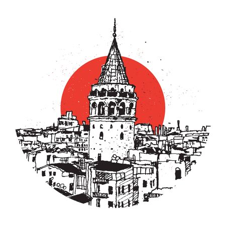 Drawing sketch illustration of Galata Tower and the buildings around, the symbolic landmark of Istanbul, Turkey Illustration