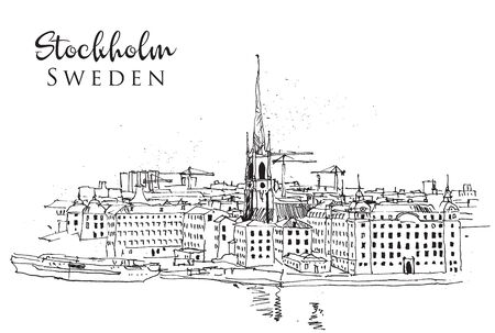 Drawing sketch illustration of Stockholm cityline, Sweden