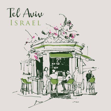 Drawing sketch illustration of a kiosk cafe in Tel Aviv, Israel