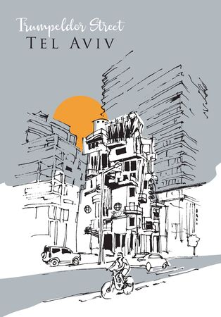 Drawing sketch illustration of Trumpeldor Street along the Promenade of Tel Aviv, Israel