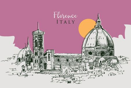 Drawing sketch illustration of the Cathedral of Santa Maria del Fiore in Florence, Italy Foto de archivo - 149172290