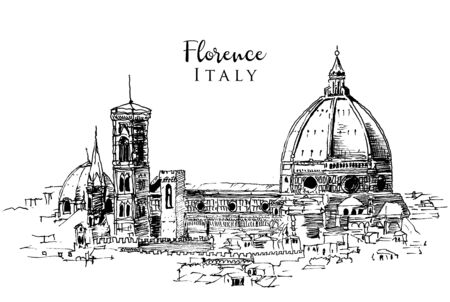Drawing sketch illustration of the Cathedral of Santa Maria del Fiore in Florence, Italy Foto de archivo - 149172271