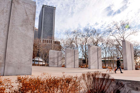 New York City, USA - January 12, 2019: The East Coast Memorial in memory of combat in the vast Atlantic Ocean during World War 2,The Battery Park, NYC, USA.
