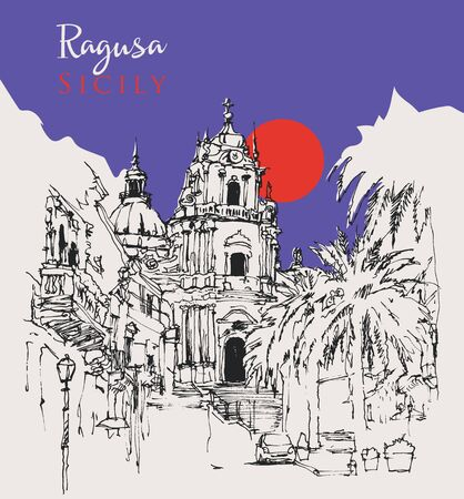 Drawing sketch illustration of Duomo of San Giorgio in Ragusa Ä°bla, Sicily, Italy 矢量图像