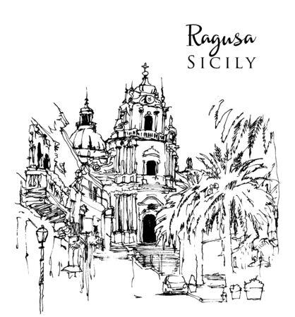 Drawing sketch illustration of Duomo of San Giorgio in Ragusa Ä°bla, Sicily, Italy