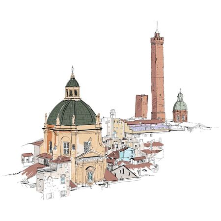 Drawing sketch illustration of Verona city, Italy