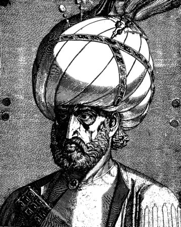 Vintage engraving style vector portrait of Suleiman the Magnificent, the legendary Ottoman sultan Vecteurs