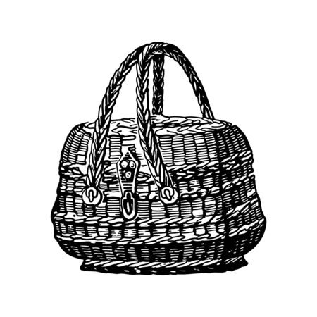 Vintage engraving style vector illustration of a woven basket Vettoriali