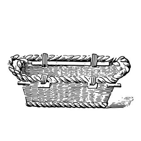 Vintage engraving style vector illustration of a woven basket
