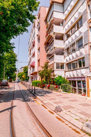 Istanbul, Turkey - June 6, 2020: View from Istanbul streets, generic architecture on the Asian side of Istanbul. Moda district of Kadikoy.