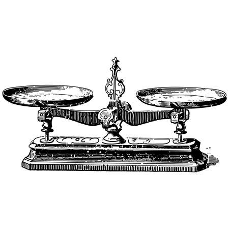 Vintage engraving style vector illustration of a mechanical weighing scale Illusztráció