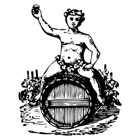 Vintage engraving style vector illustration of an angel on wine barrels Illusztráció